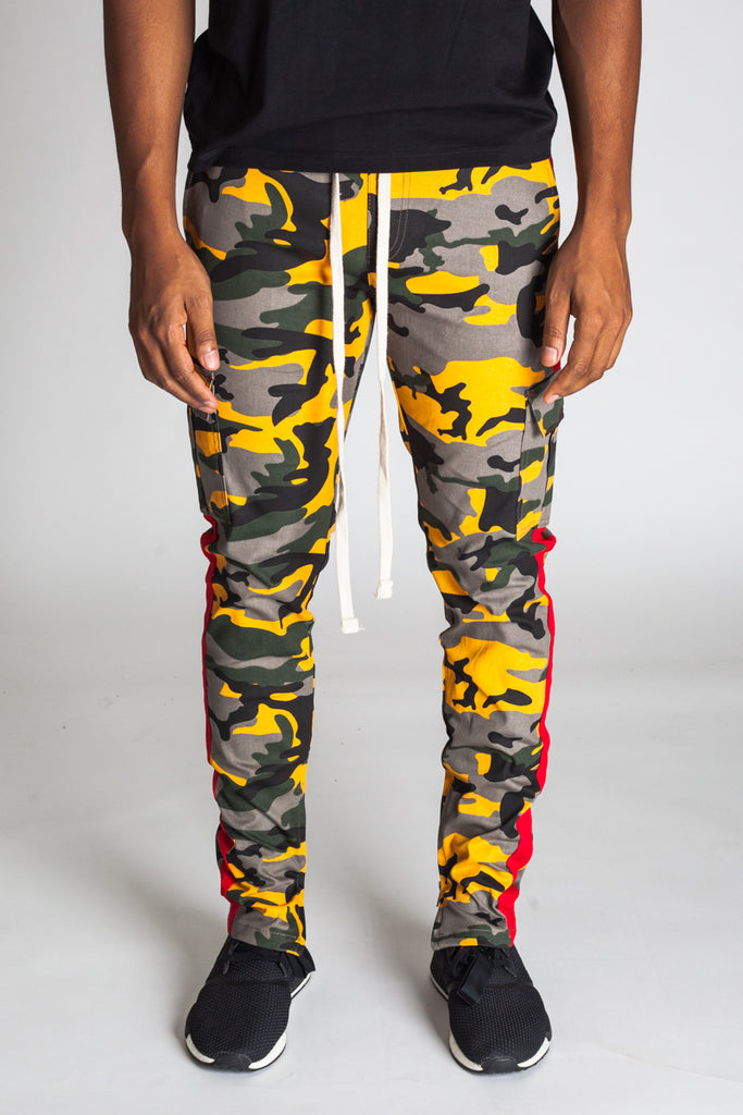 Striped Cargo Track Pants with Ankled Zippers (Amber Camo)
