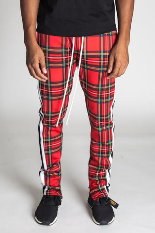 Striped Scuba Plaid Track Pants (Red)