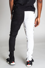 2-Tone Track Pants with Ankled Zippers (Black/White)