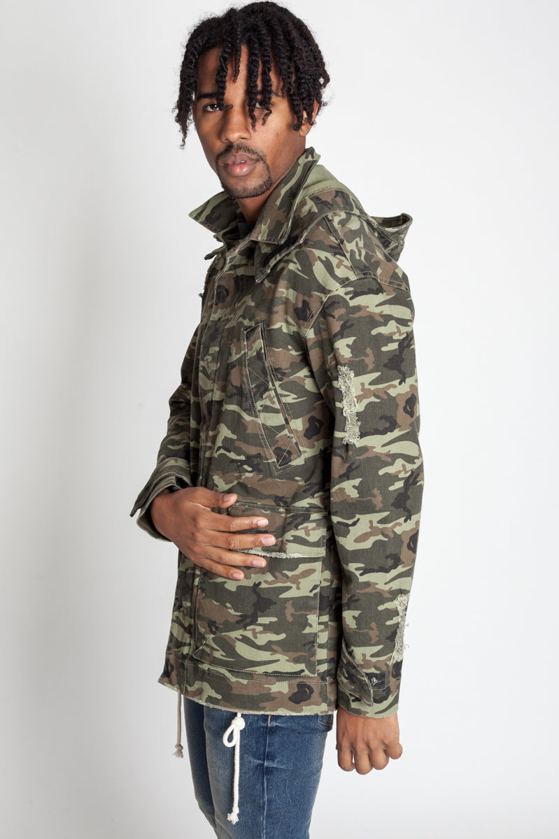 Detachable Hood Jacket (Olive Camo)