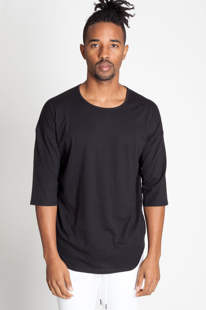 Drop Shoulder tee with Scallop Hem (Available in Other Colors)