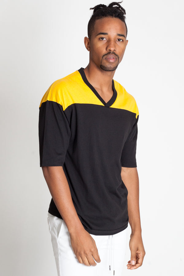Color Blocked Football Tee