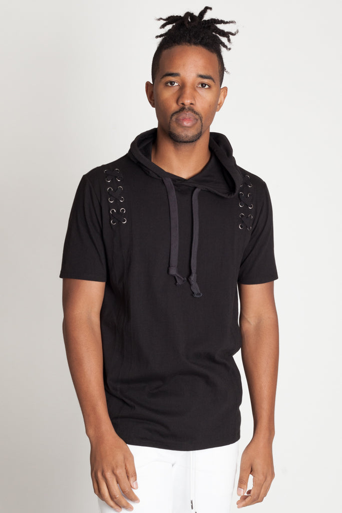 Short Sleeve Hoodie with Eyelets