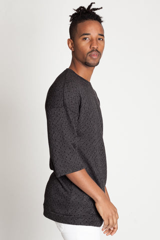 Textured Drop Shoulder Tee (Black)