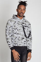 Printed Pullover Hoodie (White)
