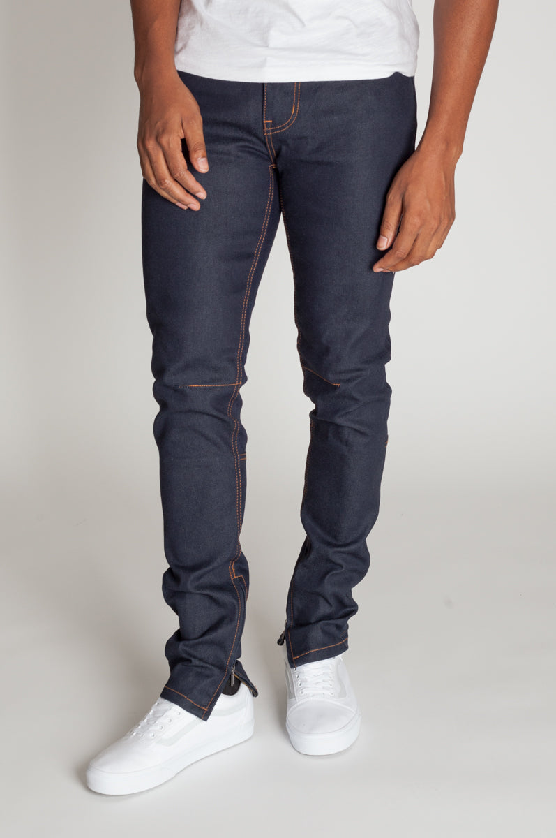 Raw Denim Ankle Zip Jeans (Indigo)