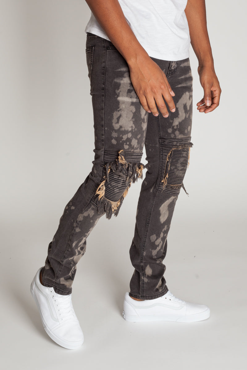 Moto Knee Patch Jeans (Brown/Black)