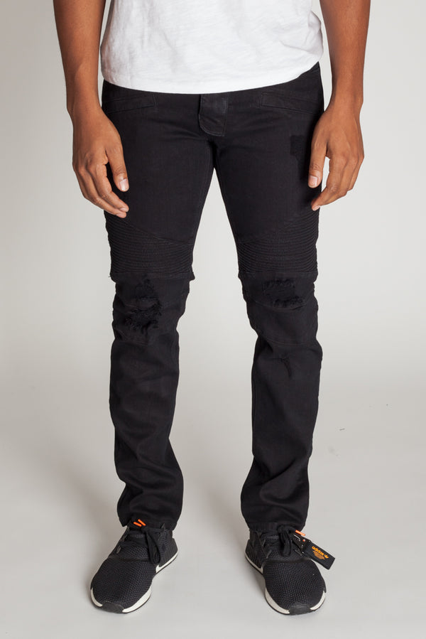 Destroyed Moto Jeans (Black)
