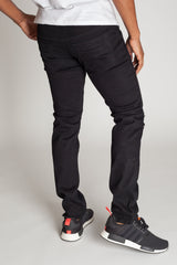 Destroyed Moto Jeans w/ Zipper (Black)