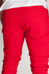 Ruched Moto Pants (Red)