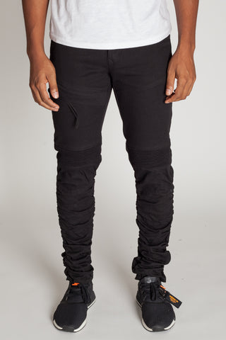 Ruched Moto Pants (Black)