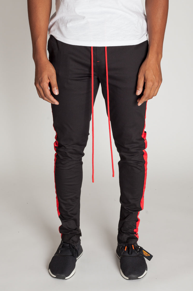 Double Striped Track Pants (Black/Red/White)