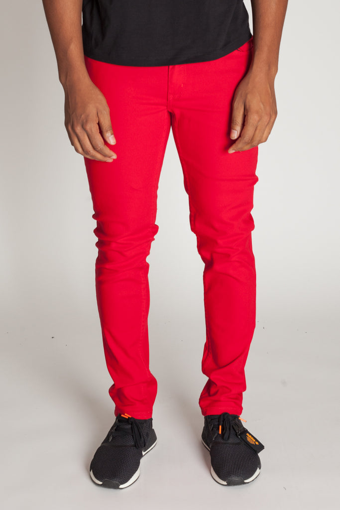 5-Pocket Skinny Twill Pants (Red)