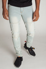 Knee Patch Skinny Jeans (Pale Blue)