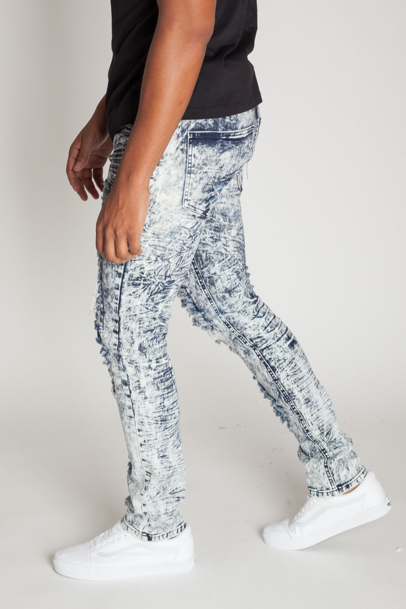 All Over Destroyed Jeans (Acid Blue)