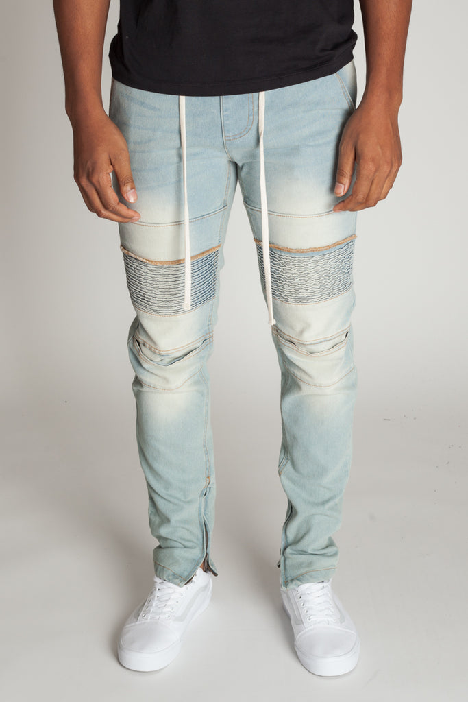 Ankle Zip Moto Jeans (Pale Blue)