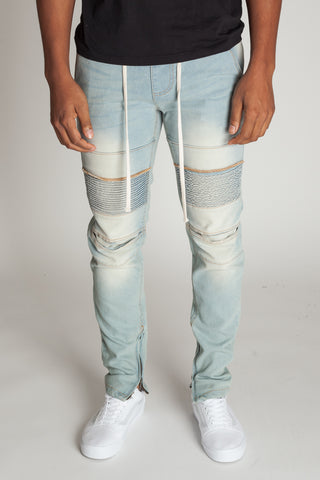 Ankle Zip Moto Jeans (Light Blue)