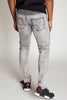 Acid Wash Moto Jeans (Ice Grey)