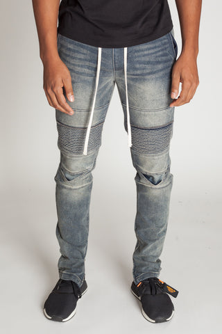 Ankle Zip Moto Jeans (Grey Blue)