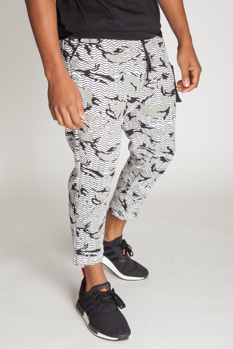 Printed Slouchy Sweats (White)