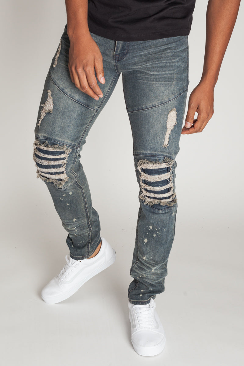 Destroyed at the Knee Skinny Jeans (Grey Blue)