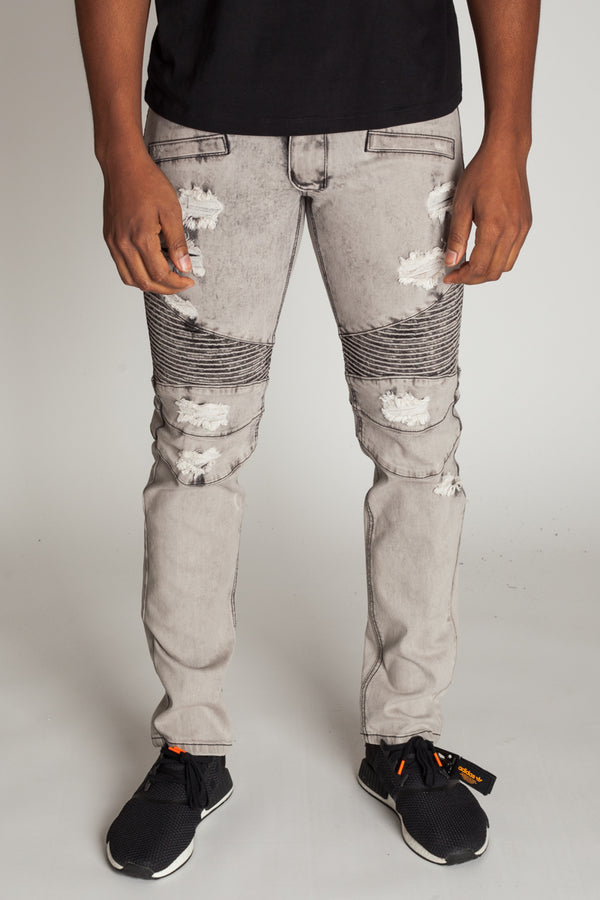 Destroyed Moto Jeans (Ice Grey)