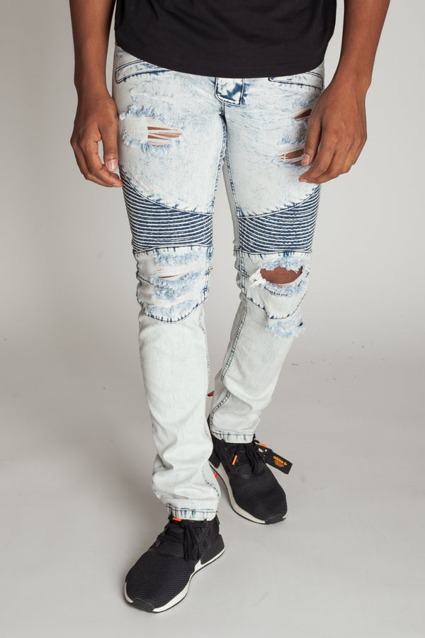 Destroyed Moto Jeans (Ice Blue)