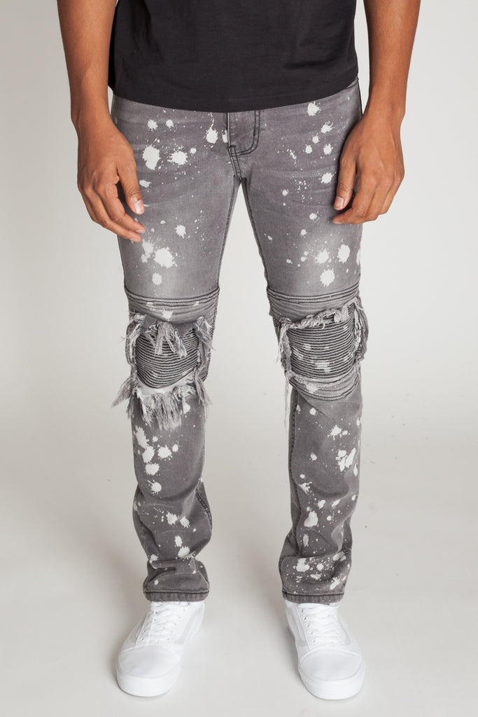 Moto Knee Patch Jeans (Gray)