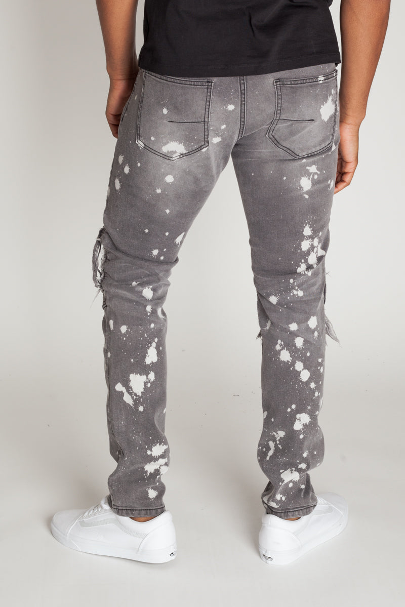 Moto Knee Patch Jeans (Grey)