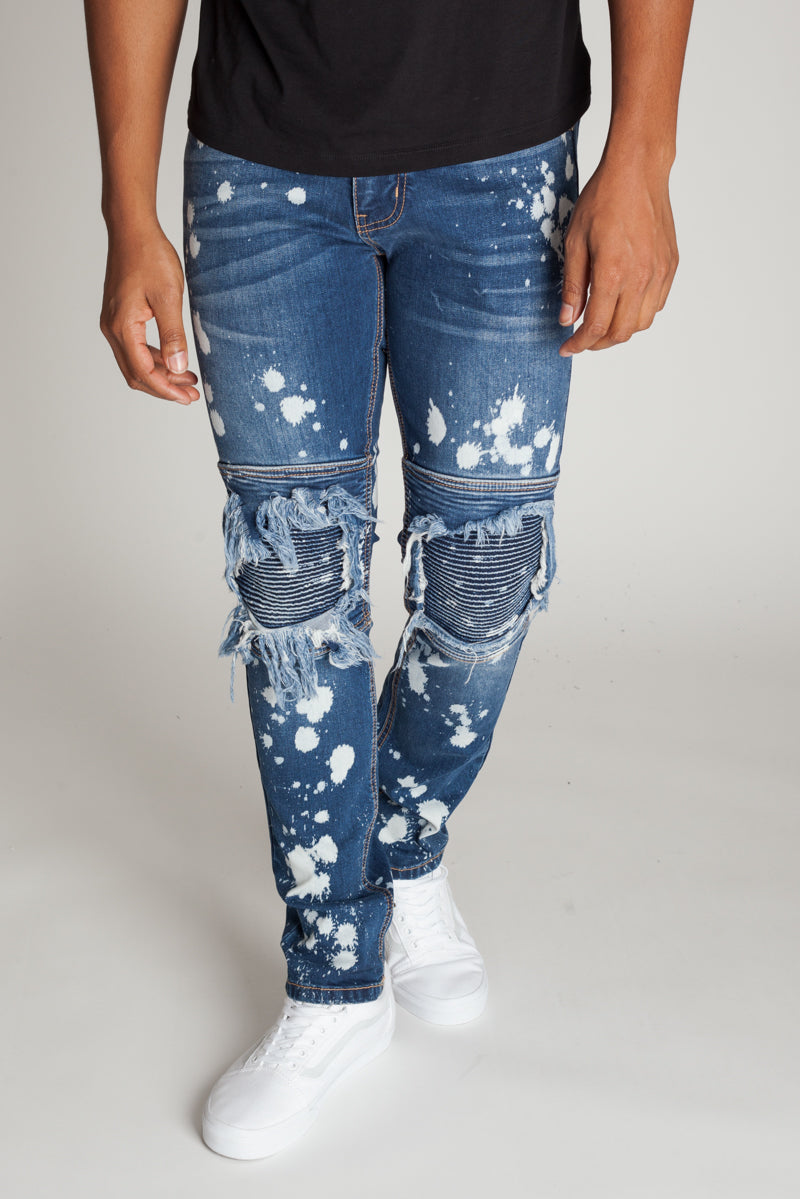 Moto Knee Patch Jeans (Blue)