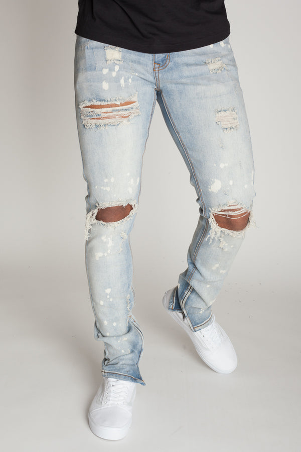 Bleach Spots Ankle Zip Jeans (Tinted Light Blue)