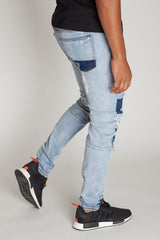 Denim Square Patch Jeans (Light Blue)