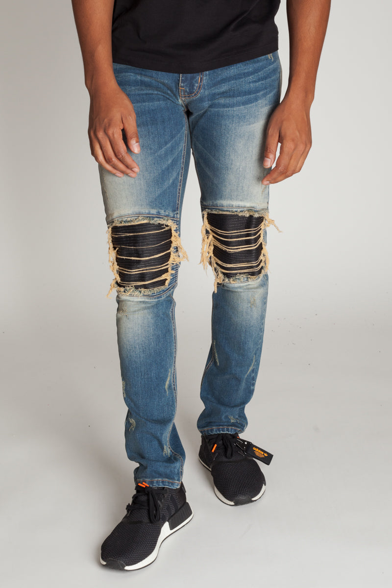 PU Moto Patch Jeans (Tinted Dark Blue)