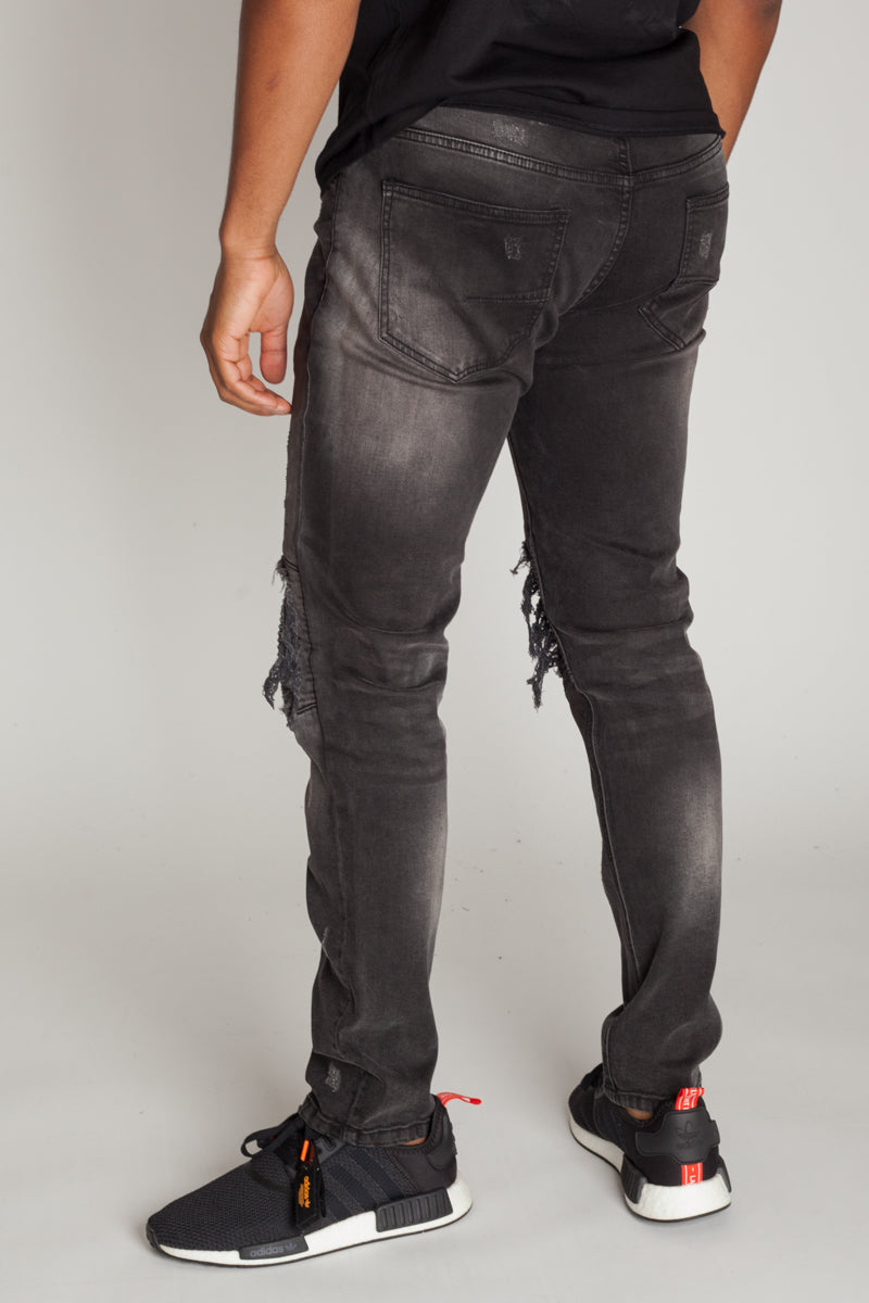 PU Moto Patch Jeans (Dark Medium Gray)