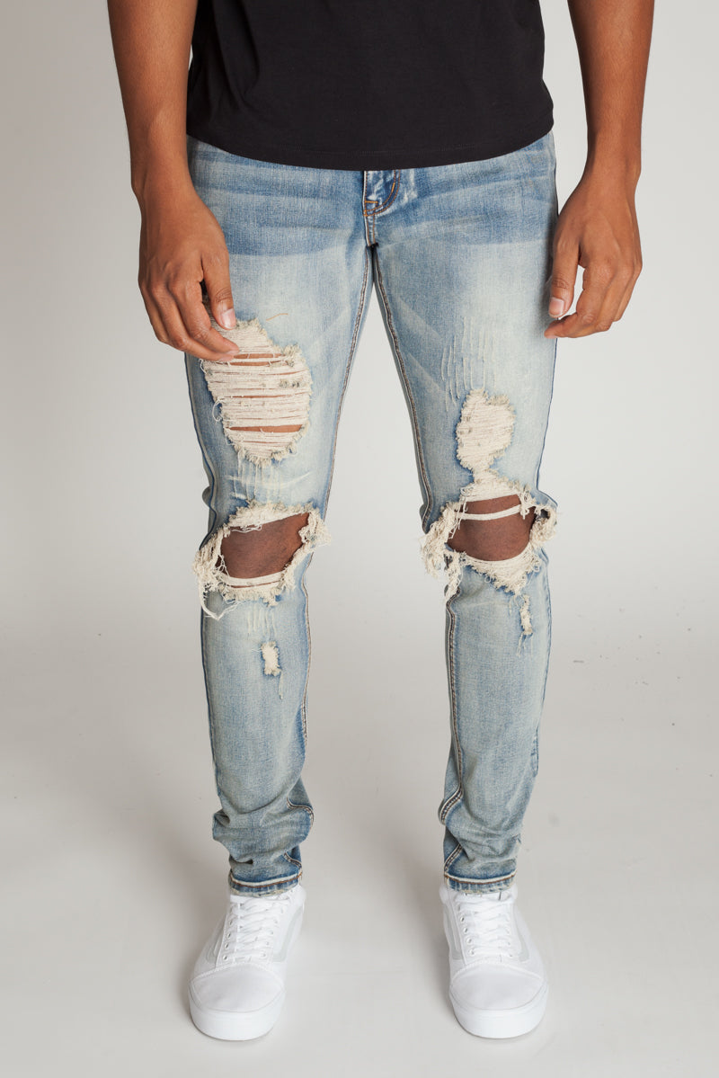 newest style limited sale perfect quality Knee Distressed Jeans (Vintage Medium Blue)