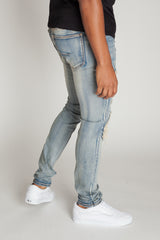 Knee Distressed Jeans (Vintage Medium Blue)