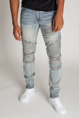 Biker Patch Jeans (Vintage Medium Blue)