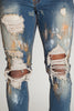 Paint Brushed Distressed Jeans (Tinted Dark Blue)
