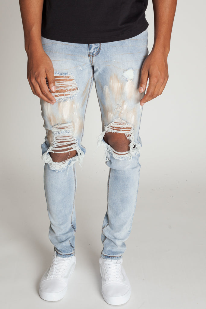 Paint Brushed Distressed Jeans (Light Medium Blue)