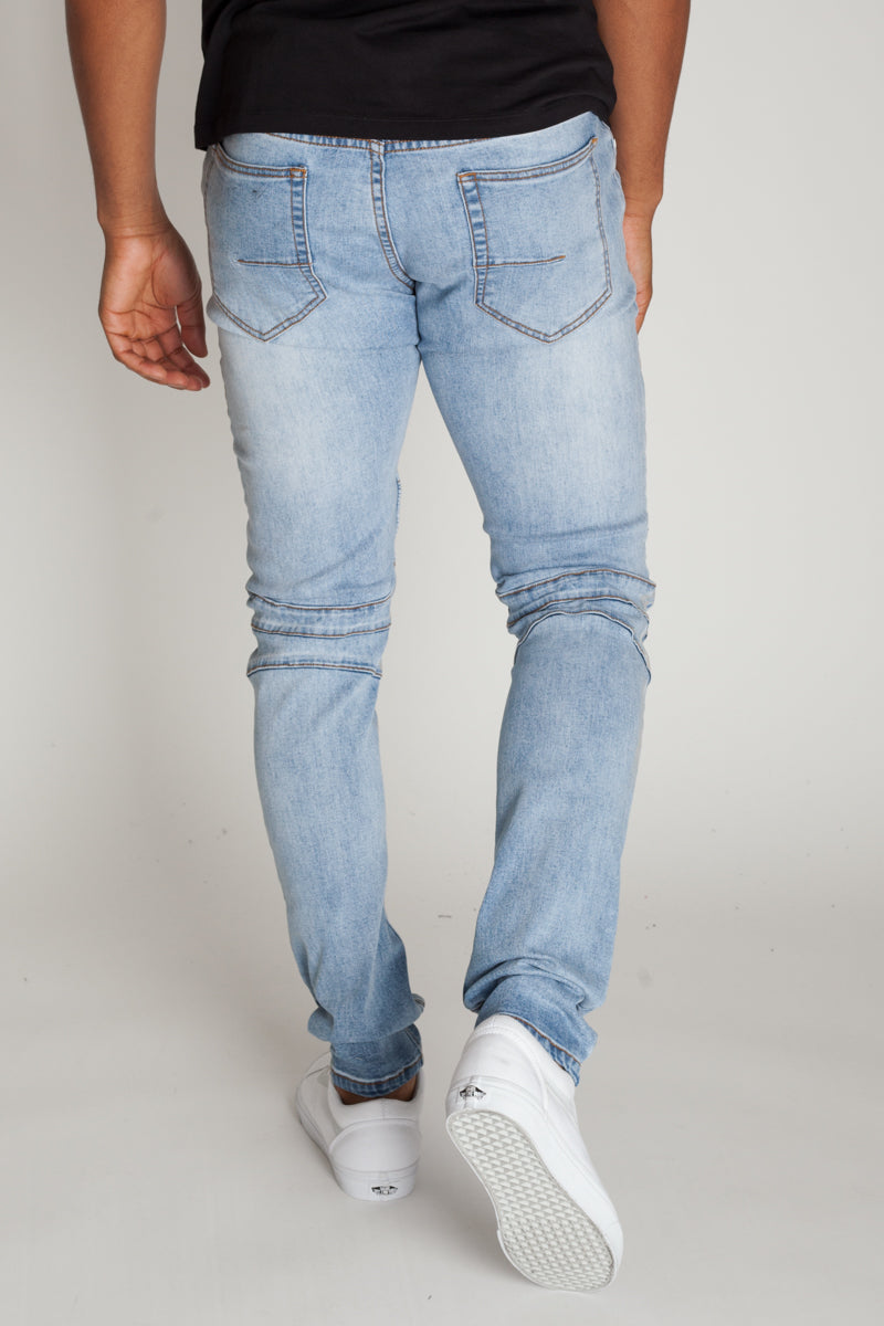 Bleach Spot & Paint Brushed Moto Jeans (Light Blue)