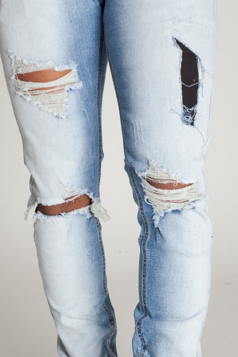 Bleached Ankle Zip Jeans Bleached Light Blue Kdnk