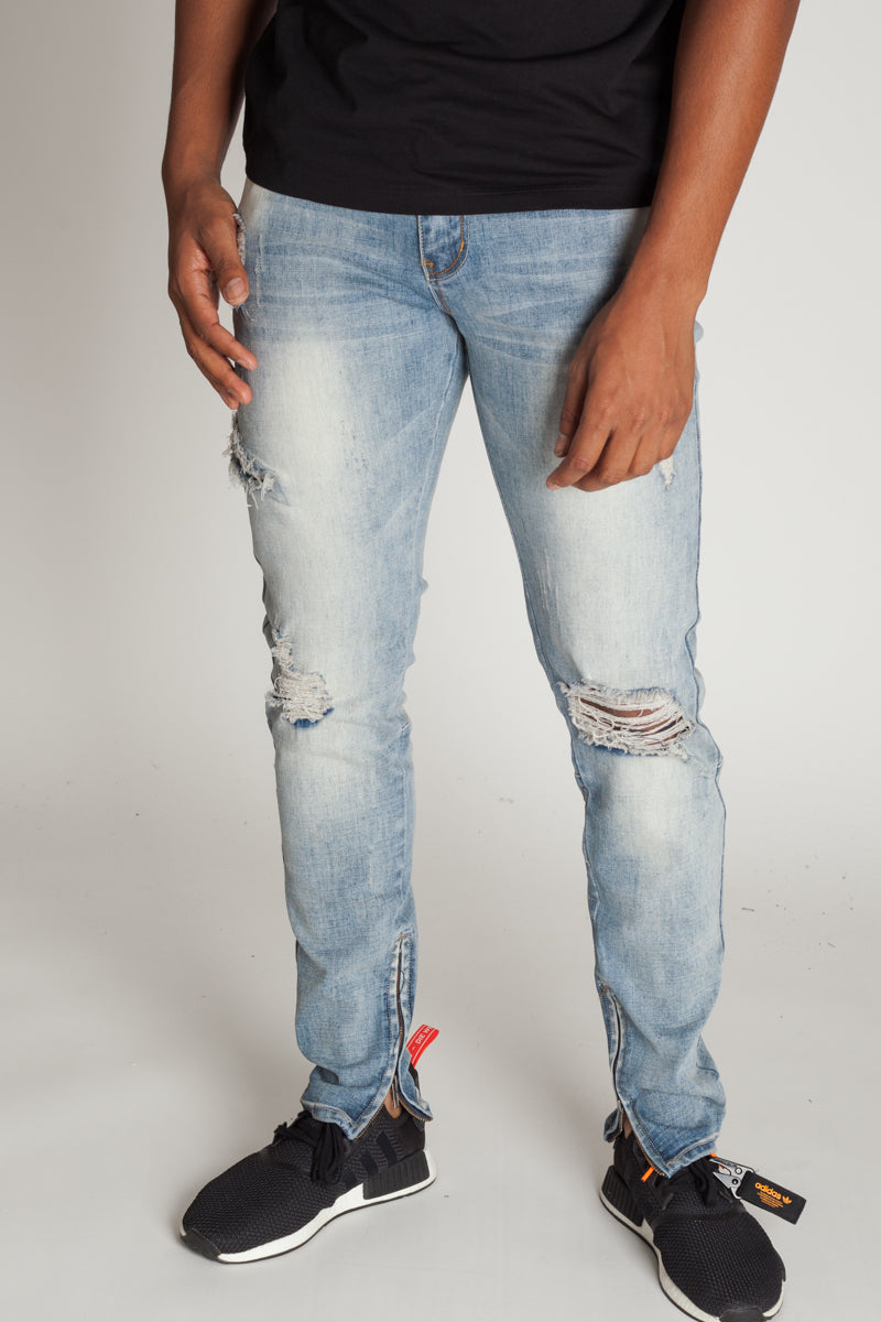 Destroyed Jeans with Ankle Zippers (Medium Blue)