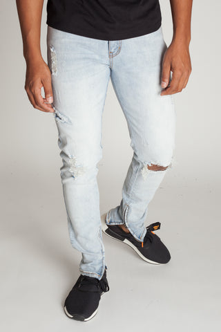 Destroyed Jeans with Ankle Zippers (Vintage Light Blue)