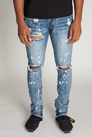 Bleach Spots Ankle Zip Jeans (Medium Blue)