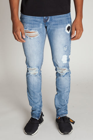 Bleach Spot Distressed Ankle Zip Jeans (Medium Blue)