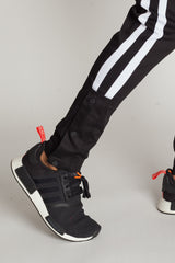 Snap Joggers with Stripes (Black)