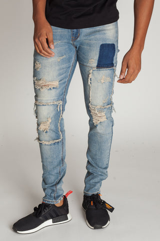 Distressed Denim Patch Jeans (Tinted Medium Blue)