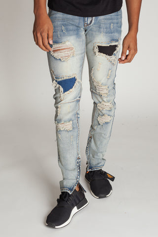 Denim Patch Ankle Zip Jeans (Vintage Medium Blue)