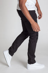 Distressed Knee Slim Pants (Black)
