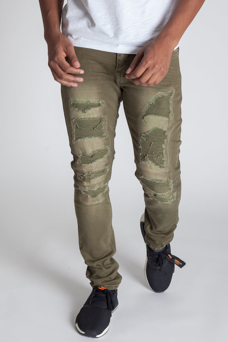Patched and Distressed Skinny Pants (Olive)